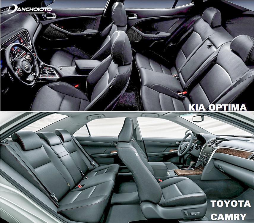 Cả 2 xe đều sở hữu khoang nội thất rộng rãi, tuy nhiên Optima có lợi thế với hệ thống tính năng phong phú