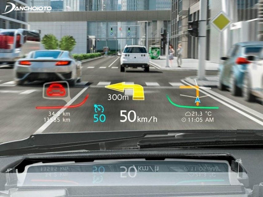 The virtual screen displays indicators and directions arrows
