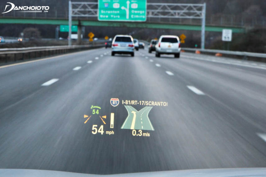 Information displayed on the virtual screen in front of the windshield