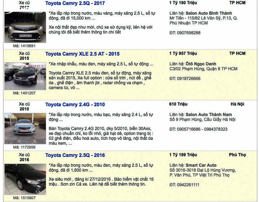 Xe Toyota Camry cũ được rao bán trên thị trường với nhiều mức giá khác nhau