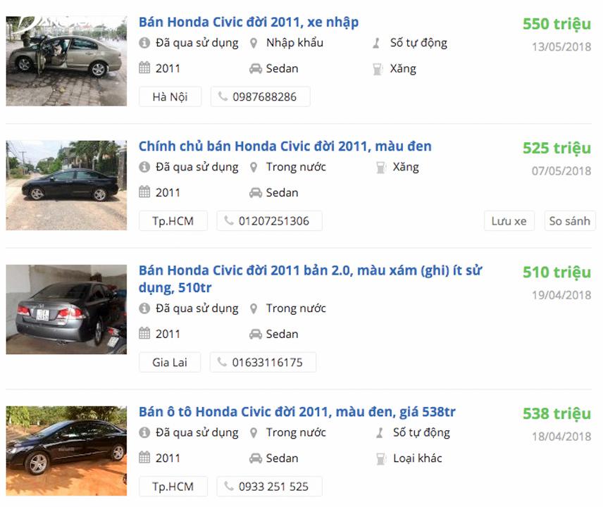 Honda Civic 2011 giá 500 triệu được rao bán khá nhiều