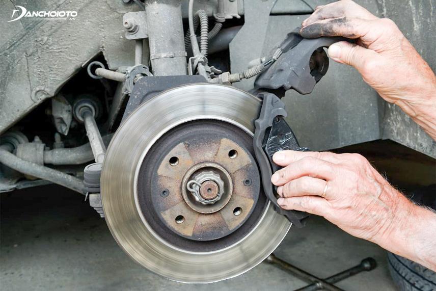 Brake screeching due to worn brake pads