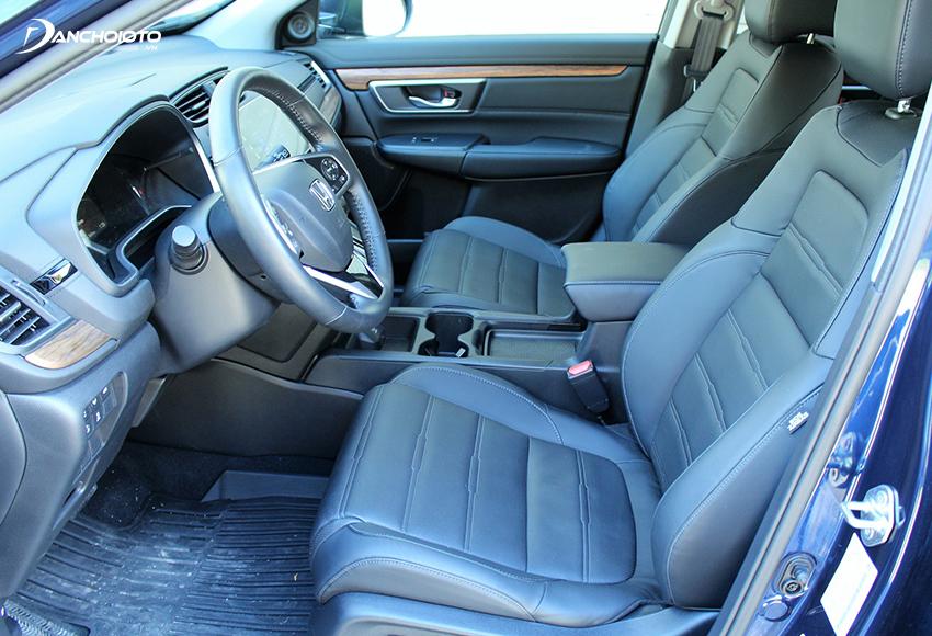 Ghế lái Honda CRV chỉnh điện 8 hướng, đặc biệt còn hỗ trợ bơm lưng 4 hướng