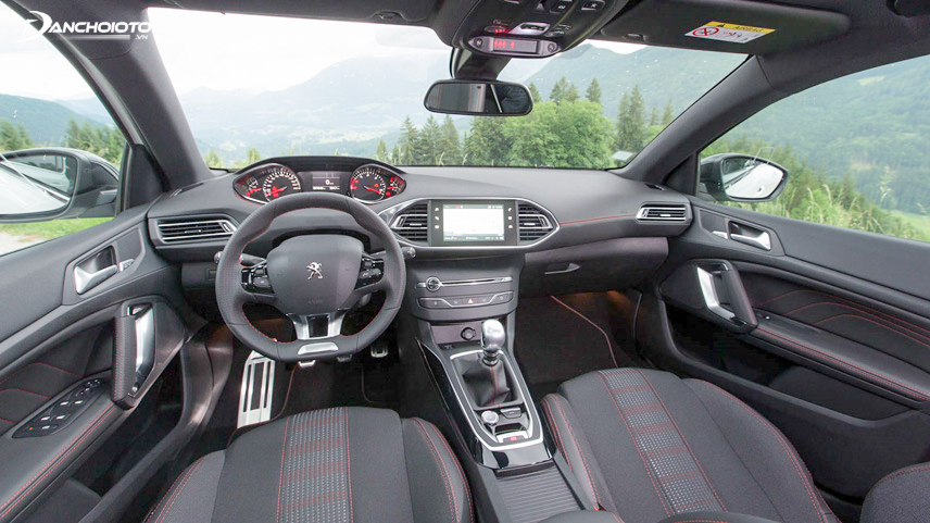 A close-up of the cockpit of Peugeot 308 2018