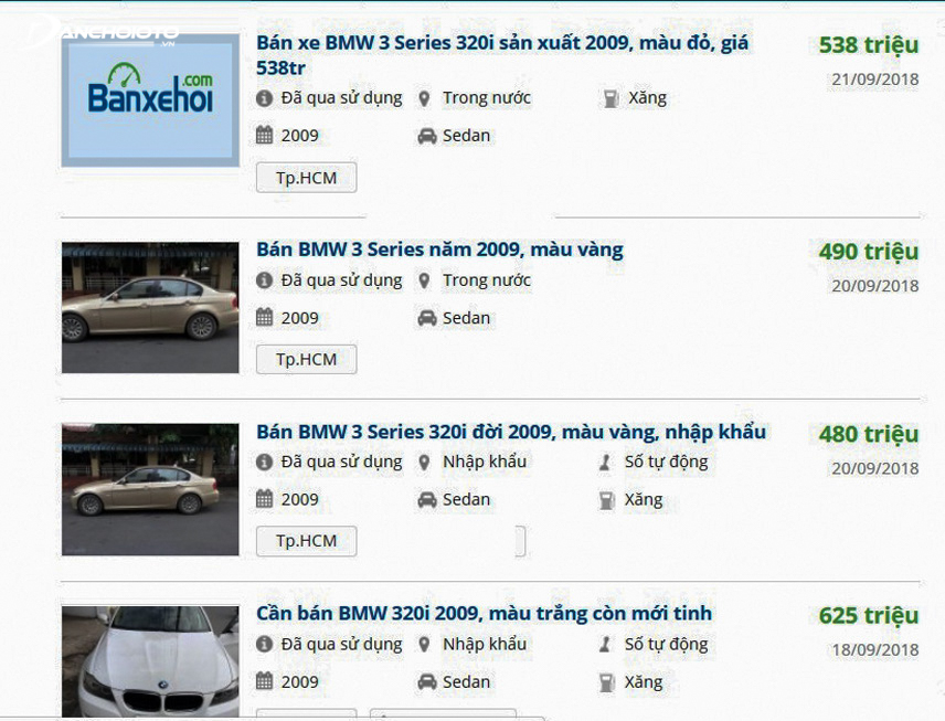 Price of old BMW 320i 2009