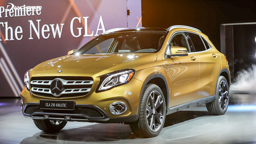 The Mercedes-Benz GLA has a rectangular hole-shaped grille