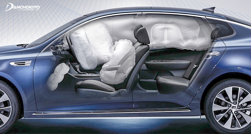 Optima cars are protected by 6 airbags around the car