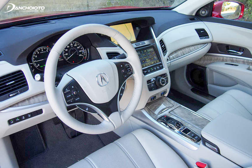 The 2018 Acura RLX uses a leather-wrapped steering wheel on all versions