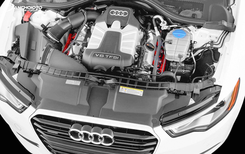 A close-up of the engine of the Audi A6 2019 luxury sedan