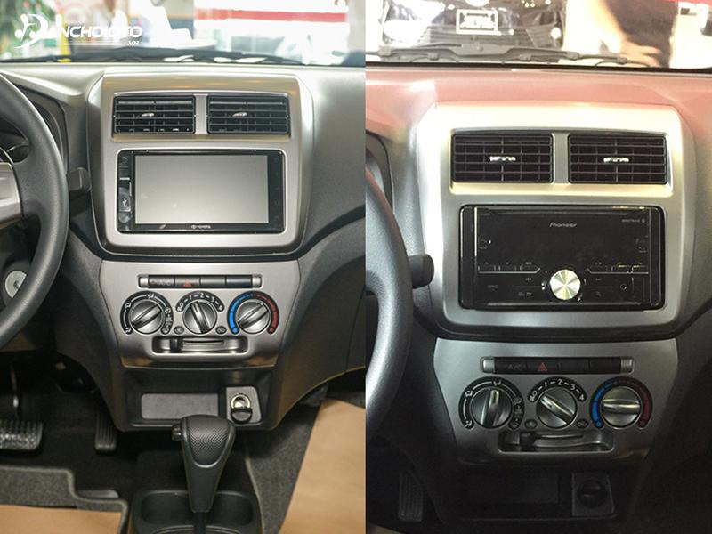 Bản Toyota Wigo 1.2 AT trang bị DVD còn bản Toyota Wigo 1.2 MT sử dụng đầu CD