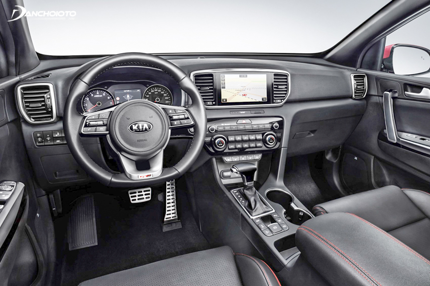 The 2018 Kia Sportage steering wheel has a sporty design