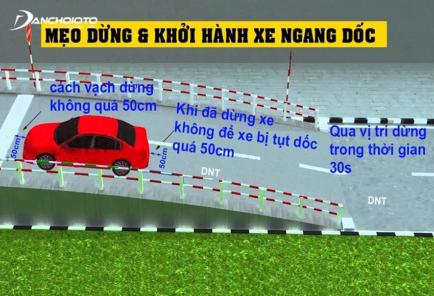 Khi lên dốc xe cách vạch dừng không quá 50 cm, không để xe bị tụt dốc quá 50 cm