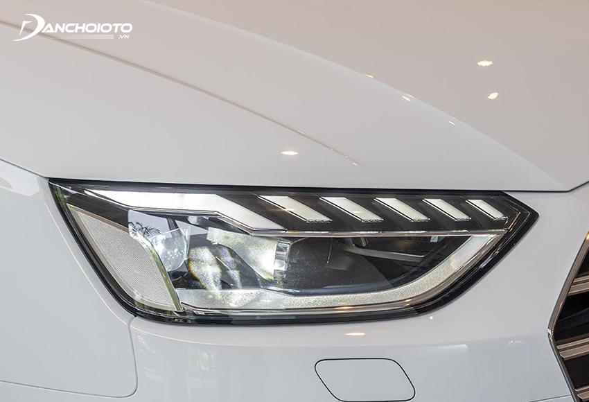 Cụm đèn trước của Audi A4 2020 có sự đổi mới với kiểu hình khối tinh tế hơn