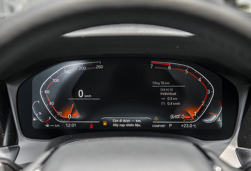 Đồng hồ BMW 320i Sport Line Plus 2020 là loại màn hình kích thước lớn 12.3 inch