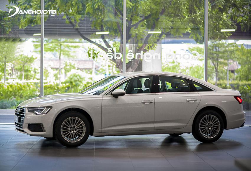 Thân xe Audi A6 2020 năng động với những đường dập gân ở phần vai xe, vòm bánh xe dát phẳng