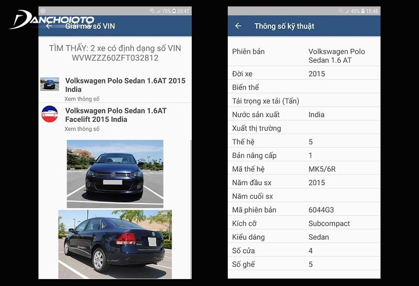 Khi nhập số khung ô tô, ứng dụng sẽ cho ra toàn bộ thông tin về xe