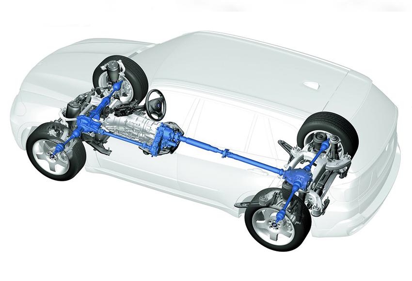 Xe dẫn động 4 bánh toàn thời gian được dẫn động 2 cầu với sức mạnh động cơ được phân phối đến các bánh xe dựa vào sự tính toán của hệ thống điện tử