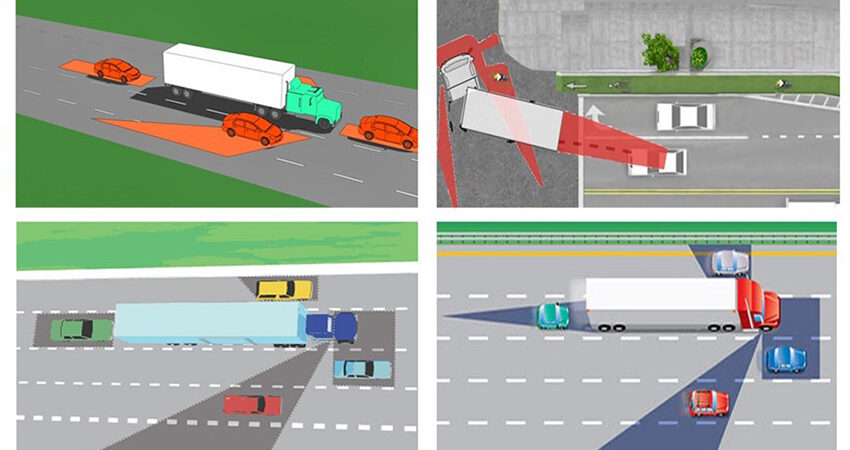 Điểm mù xe tải, container rất lớn nên hạn chế chạy vào các điểm mù này