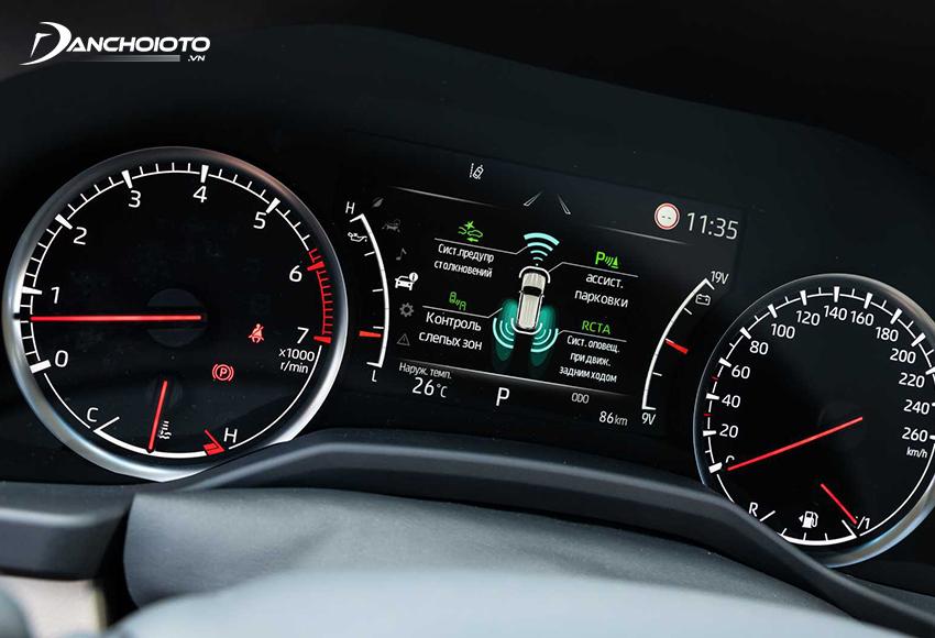 Cụm đồng hồ Land Cruiser ở dạng kết hợp màn hình 7 inch với đồng hồ analog